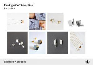 Barbara Koniecka, Jewellery set - earrings, cufflinks and pin